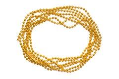 Confine dorato delle perle isolato Blocco per grafici magico blu di natale Lustro dorato Fondo giallo Fotografia Stock Libera da Diritti
