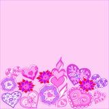 Confine estratto geometrico dei fiori e dei cuori illustrazione vettoriale