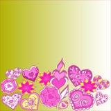 Confine estratto scarabocchio geometrico dei fiori e dei cuori illustrazione vettoriale