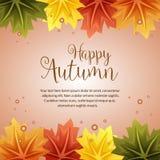 Confine felice della foglia di acero di autunno Immagini Stock