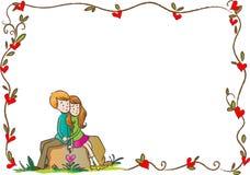 Confine felice di giorno di biglietti di S. Valentino Fotografia Stock