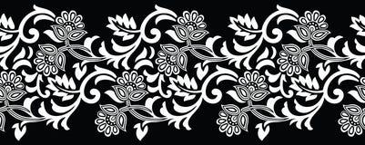 Confine floreale in bianco e nero senza cuciture Fotografia Stock Libera da Diritti