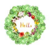 Confine floreale del cerchio - ornamento decorativo Fiori del prato, farfalle watercolor immagini stock