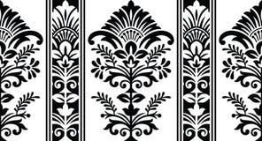 Confine floreale del damasco in bianco e nero senza cuciture Fotografia Stock