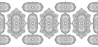 Confine indiano tradizionale in bianco e nero senza cuciture Fotografia Stock