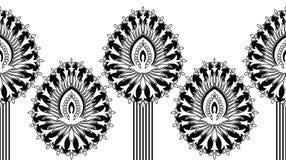 Confine indiano tradizionale in bianco e nero senza cuciture 1 Fotografia Stock Libera da Diritti