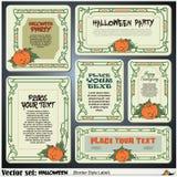 Confine las etiquetas del estilo en diversos temas en un tema de Halloween Fotos de archivo libres de regalías