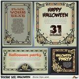 Confine las etiquetas del estilo en diversos temas en un tema de Halloween Foto de archivo libre de regalías