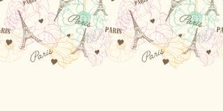 Confine orizzontale del modello senza cuciture di Parigi della torre di Eifel di vettore nello stile d'annata con i bei, fiori pa royalty illustrazione gratis