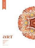 Confine ornamentale floreale di vettore astratto Progettazione del modello del pizzo Ornamento dell'acquerello su fondo blu Confi Fotografia Stock