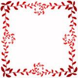 Confine quadrato della struttura con le foglie rosse intorno Immagini Stock Libere da Diritti
