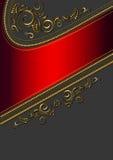 Confine rosso con il modello dell'oro Fotografia Stock Libera da Diritti