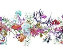 Confine senza cuciture d'annata di vita di mare dell'acquerello di estate Fotografie Stock
