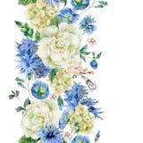 Confine senza cuciture dell'acquerello con i fiori selvaggi blu illustrazione di stock