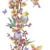 Confine senza cuciture della molla dell'acquerello, mazzo floreale d'annata con la b illustrazione di stock