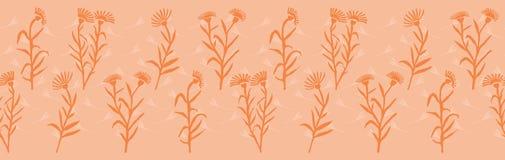 Confine senza cuciture di vettore dei fiori della primavera Colori pastelli morbidi Fioriture tagliate di carta del collage illustrazione vettoriale
