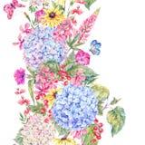 Confine senza cuciture floreale d'annata dell'acquerello Fotografia Stock Libera da Diritti