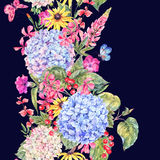 Confine senza cuciture floreale d'annata dell'acquerello Fotografie Stock