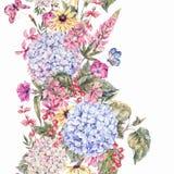 Confine senza cuciture floreale d'annata dell'acquerello Fotografia Stock