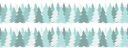 Confine senza cuciture orizzontale con gli alberi verdi di Natale su fondo bianco nello stile piano semplice Per progettazione de illustrazione di stock