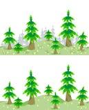 Confine senza cuciture orizzontale con la foresta di estate Immagini Stock