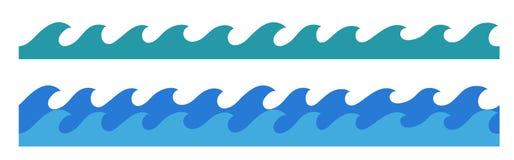 Confine senza fine disegnato a mano delle onde di oceano Fotografia Stock Libera da Diritti