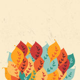Confine variopinto con le foglie strutturate Illustrazione di Stock