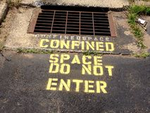 Confined space. Do not enter sewer culvert duh obvious really danger silly liability CYA fool foolish concrete royalty free stock photos