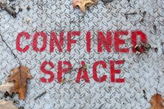 Confined Space Sign. A sign warns of confined space in bright red stock photo