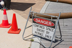 Confined Space. Sign warning of dangerous work underway stock photography