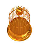Confinement: Golden birdcage isolated. Over white background Royalty Free Stock Photo