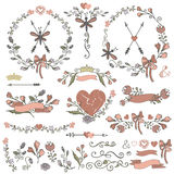 Confini colorati di scarabocchi, strutture, corona, floreale Immagine Stock