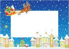 Confini con la slitta di Natale di Santa Fotografia Stock Libera da Diritti