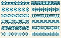 Confini decorativi degli ornamenti di vettore senza cuciture islamico di collegamento illustrazione vettoriale