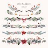 Confini decorativi di Natale con i rami floreali disegnati a mano Fotografia Stock Libera da Diritti