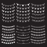 Confini dei divisori di scarabocchio di schizzo Linea disegnata a mano Se di vettore del confine Immagine Stock Libera da Diritti