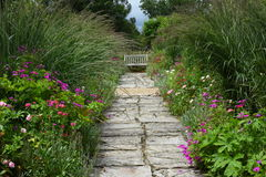 Confini del fiore, giardino di Tintinhull, Somerset, Inghilterra, Regno Unito Immagini Stock Libere da Diritti