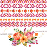 6 confini dell'acquerello per le vostre proprie composizioni + 1 mazzo variopinto di autunno con le foglie di autunno, i fiori, i Immagine Stock