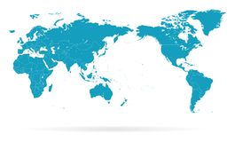 Confini della siluetta di contorno del profilo della mappa di mondo - Asia nel centro illustrazione di stock