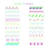 Confini di colore Insieme degli elementi decorativi differenti royalty illustrazione gratis
