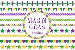 Confini di Mardi Gras messi Perle sveglie, ornamenti di giglio araldico, ghirlanda illustrazione vettoriale