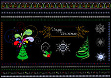 Confini e modelli sul tema di Natale Immagini Stock