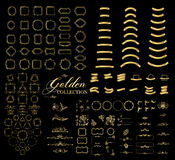 Confini e strutture raccolta dorata, segno tratteggiato decorativo elegante di scenetta dell'oro illustrazione vettoriale
