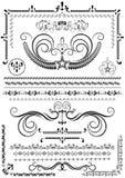 Confini ed ornamenti di lusso della raccolta su fondo bianco Immagine Stock