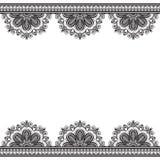 Confini gli elementi del modello con i fiori nello stile indiano di mehndi per la carta e nel tatuaggio isolato su fondo bianco royalty illustrazione gratis