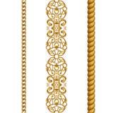 Confini senza cuciture clipart del pizzo a catena classico della corda dell'oro, isolato su fondo bianco Fotografia Stock