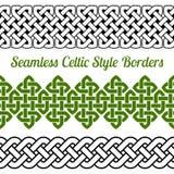 3 confini senza cuciture del nodo di stile celtico, illustrazione di vettore Fotografia Stock