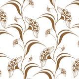 Confini verticali marroni senza cuciture ornamentali nello stile di mehndi del hennè Fotografia Stock