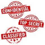 confirdential秘密标记顶层 库存图片