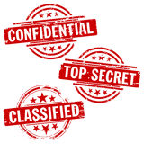 Confidential & Top Secret Stamps. A set of three stamps for marking top secret, confidential and classified documents Stock Images